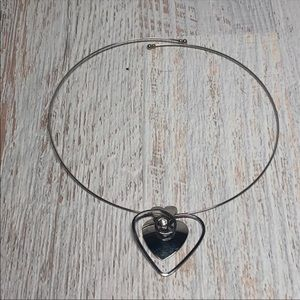 Silver Tone HEART Wire Choker Necklace